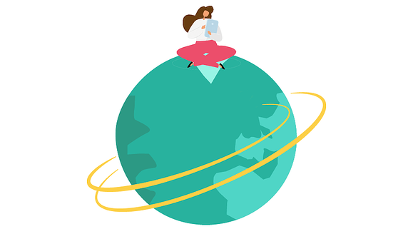 Woman with PC sitting on the globe